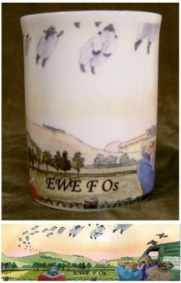 Commemorative chinaware items for sale - great collectors items. And fun stuff like this sheep cup